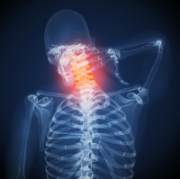 Skeleton holding sore neck