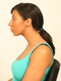 Woman with poke chin posture
