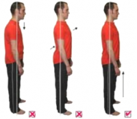 3 images showing bad to good posture